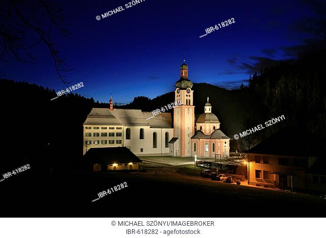 Monastery Fischingen with church at dusk in wintertime, Fischingen, Thurgau, Switzerland