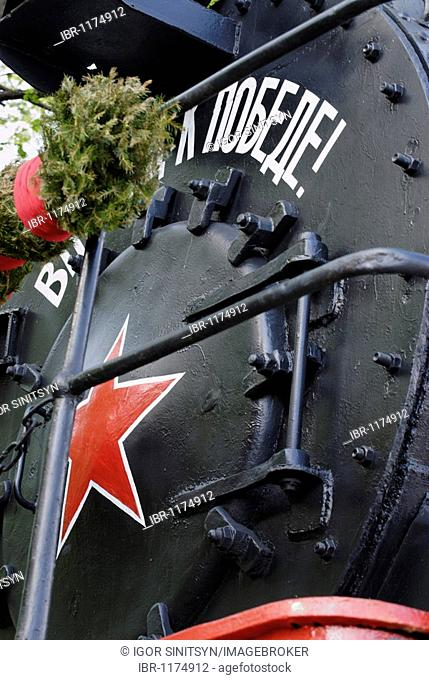 Detail view of the Soviet steam locomotive from times of Second World War