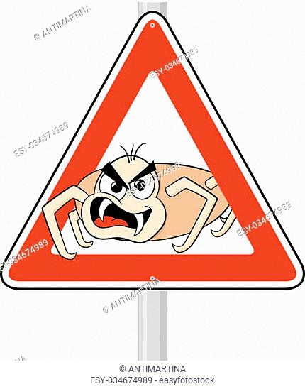 vector illustration of a ticks cartoon warning sign