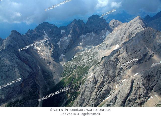 View from viewpoint of the Marmolada. Fassa valley. Dolomites. Italy