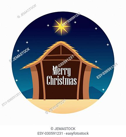 Wood house and star icon. Holy family and merry christmas season theme. Colorful design. Vector illustration