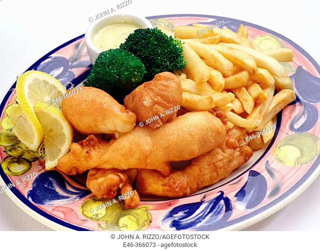 Fish and Chips dinner. Fried fish pieces and French fries