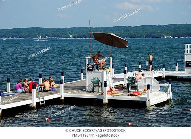 Summer on the pier at Aurora College, Geneva Lake, Wisconsin, USA