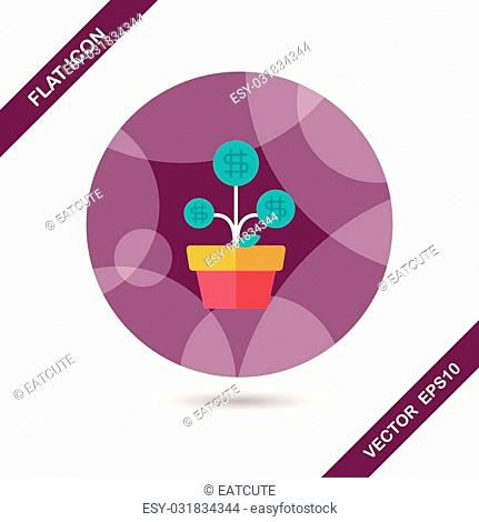 Money tree flat icon with long shadow,eps10