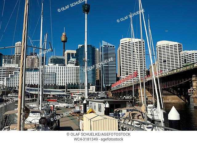 Sydney, New South Wales, Australia - A view from Darling Harbour at Sydney's city skyline of the Central Business District with the Sydney Tower in the backdrop