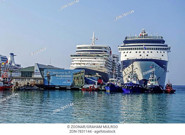 Cruise Ships In The harbour Kusadasi Turkey
