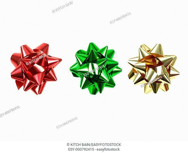 Gift wrapping bows isolated against a white background