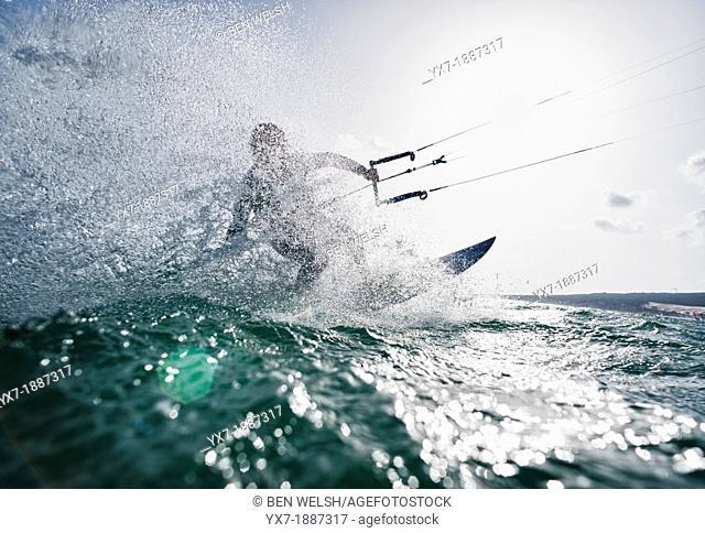 Kitesurfing. Tarifa, Costa de la Luz, Cadiz, Andalusia, Spain, Europe