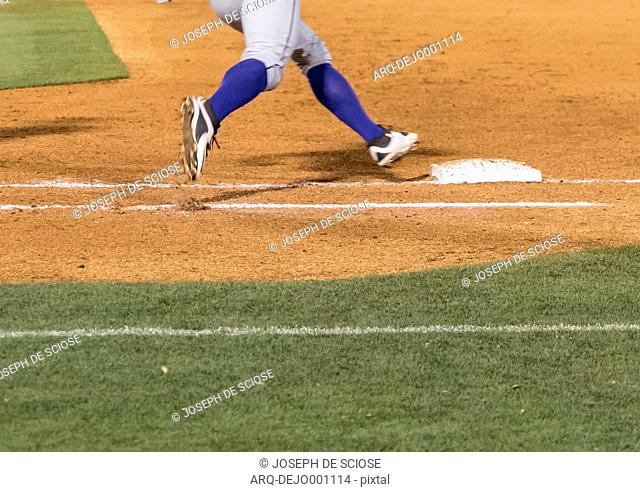 Close Up Of A Baseball Player Playing On Field