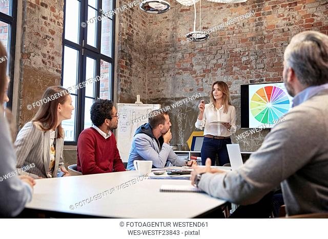 Businesswoman holding strategy presentation for colleagues in the office