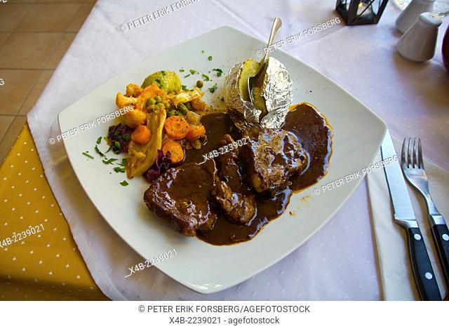 Pepper steak, restaurant, new town, Rhodes city, Rhodes island, Dodecanese islands, Greece, Europe