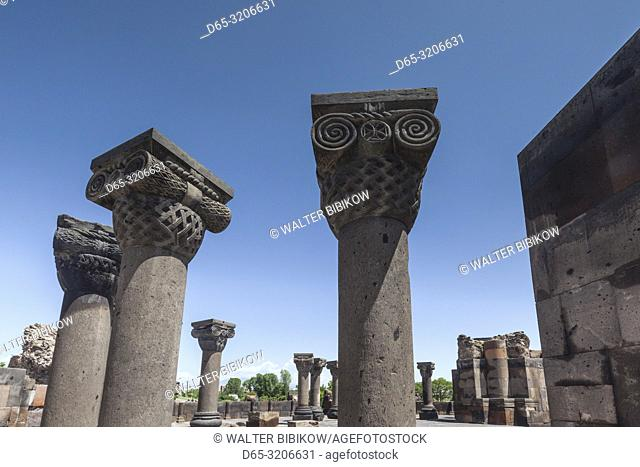Armenia, Zvarnots, Zvarnots Cathedral, ruins of 7th century cathedral, columns