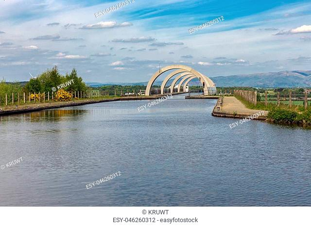 Canal to the Falkirk Wheel, rotating boat lift in Scotland which connects the Forth and Clyde Canal with the Union Canal