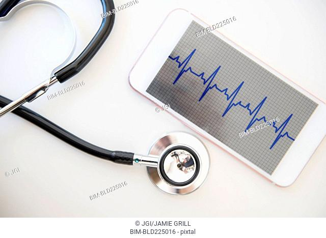 Stethoscope and pulse trace on cell phone