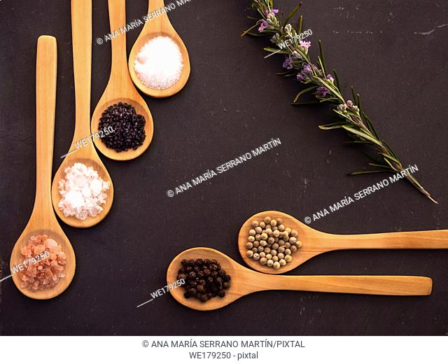 Wooden spoons with himalayan salt, black hawaii salt, common salt, salt flakes, peppercorns and a rosemary twig on a slate plate