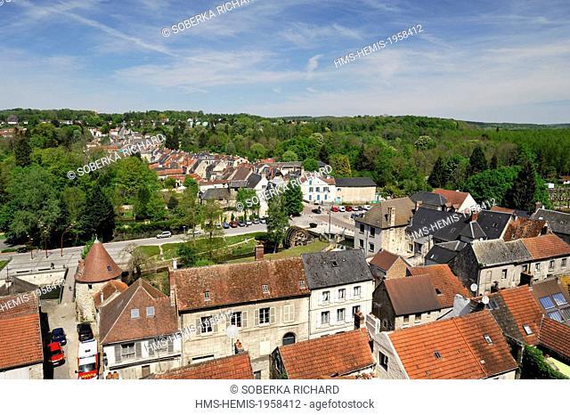 France, Aisne, La Ferte Milon, view over the city from the castle
