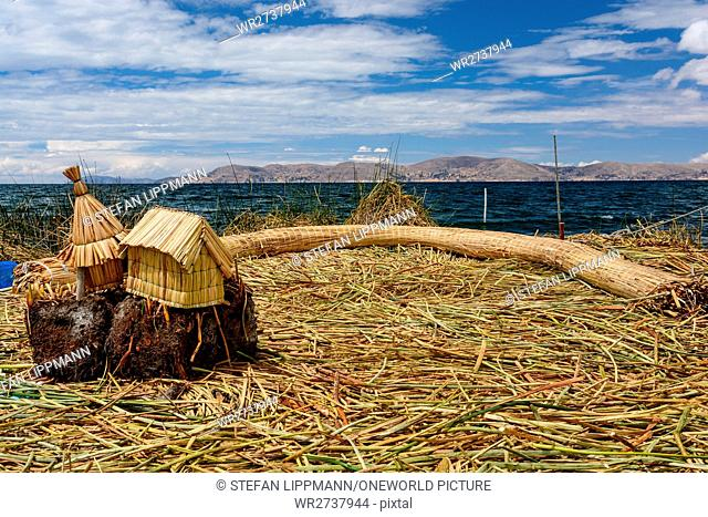 Peru, Puno, boat trip to the Uros, which live on floating islands of reeds on the lake. They live by agriculture and tourism