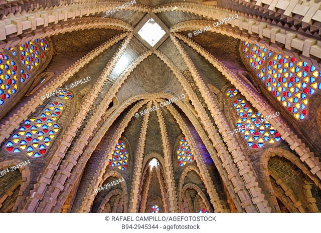 Sanctuary of Mare de Déu de Montserrat (Our Lady of Monsterrat), a small Modernist church by Josep Maria Jujol. Montferri