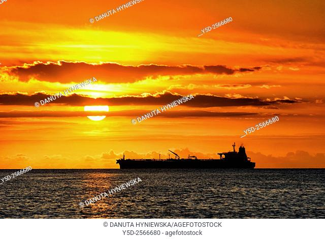 Africa, Mascarene , Mascarene Islands , Mascarenhas , Mauritius, Northern Mauritius, Ship entering Port Louis Harbour, sunset