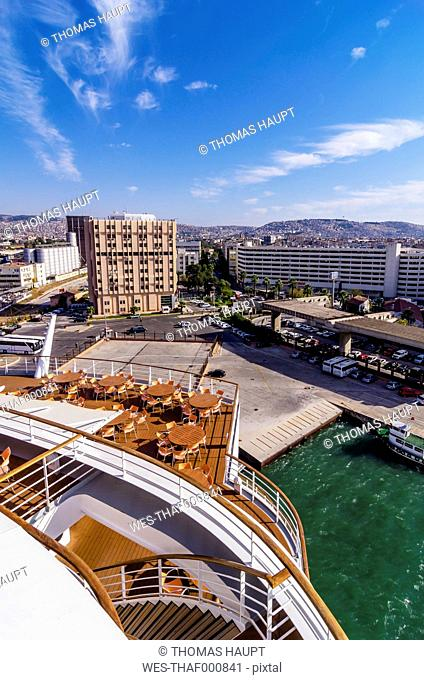 Turkey, Izmir, Aegean Region, View to harbour from cruise liner