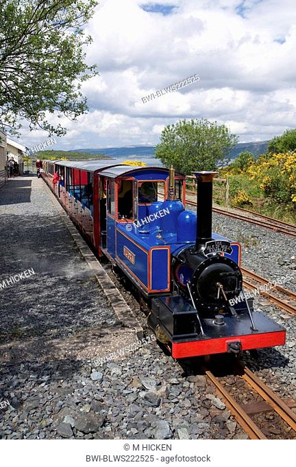 mull rail steam locomotive victoria with wagons, United Kingdom, Scotland, Isle of Mull