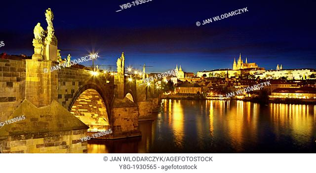 Prague - Hradcany, Charles Bridge, Vitus Cathedral and the Castle District at dusk, Prague, Czech Republic