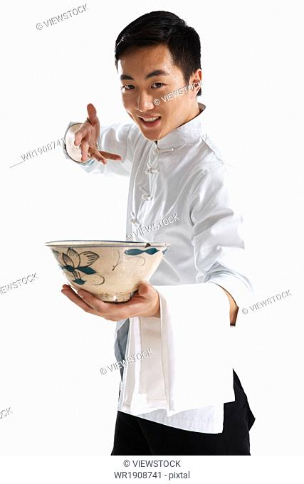 Dressed in traditional costumes of the waiter