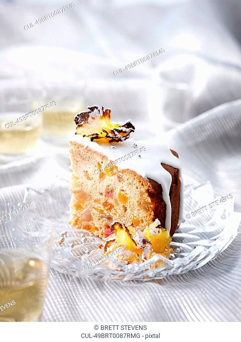 Slice of glazed pineapple cake