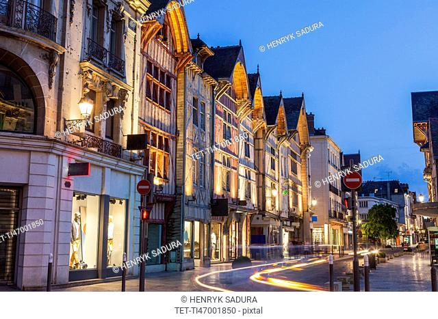France, Grand Est, Troyes, Light trail on city street