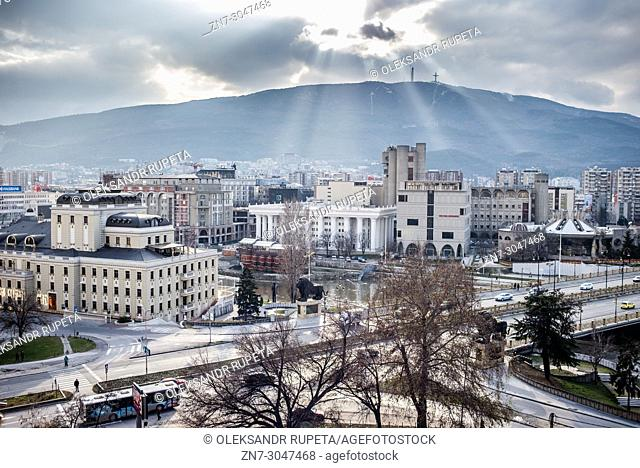 City view from Kale fortress, Skopje, Macedonia