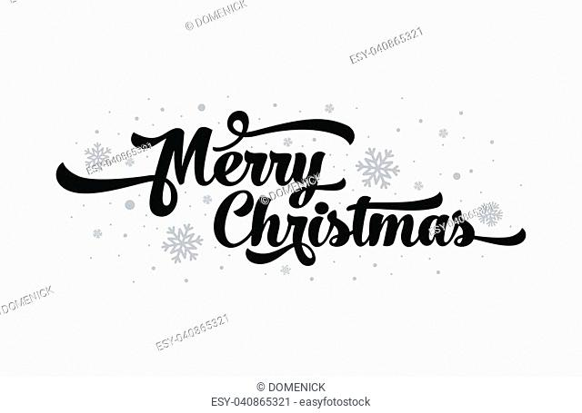 Vector text on white background. Merry Christmas lettering for invitation and greeting card, prints and posters. Hand drawn inscription, calligraphic design