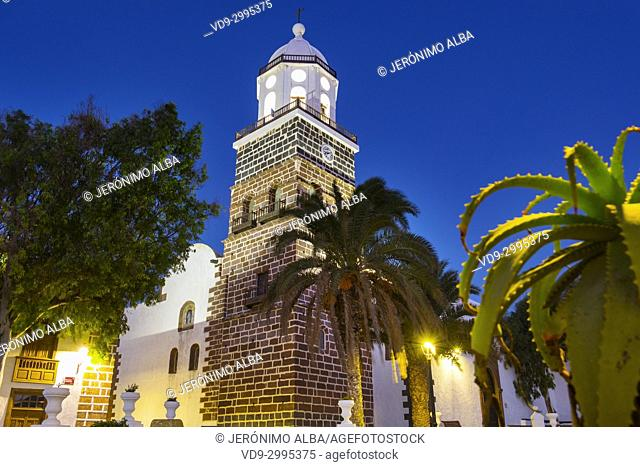 Church, Iglesia de Nuestra Senora de Guadalupe at dusk. Teguise, Lanzarote Island, Canary Islands. Spain Europe