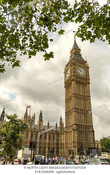 UK, England, London. The Palace of Westminster, with Big Ben clock tower. The meeting place of the House of Commons and the House of Lords