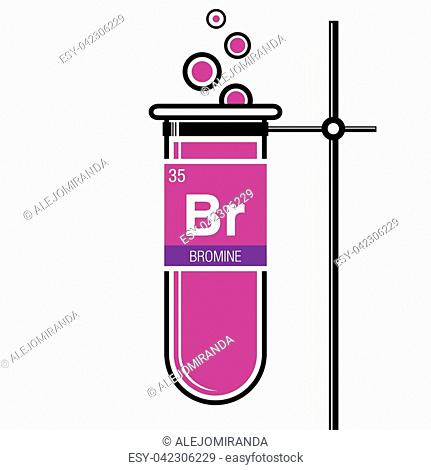 bromine symbol on label in a magenta test tube with holder element number 35 of