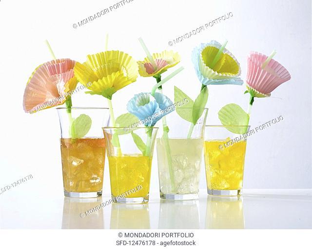 Homemade decorative flowers for a festive buffet