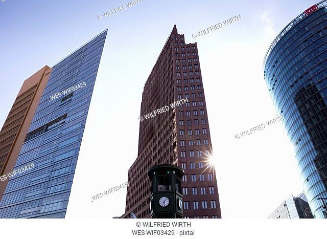 Germany, Berlin, Potsdamer Platz, Forum Tower, Kollhoff-Tower and Bahntower