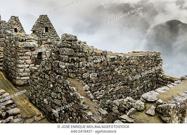Archaeological site of Machu Picchu, Cusco, Peru.Acllawasi or factory houses