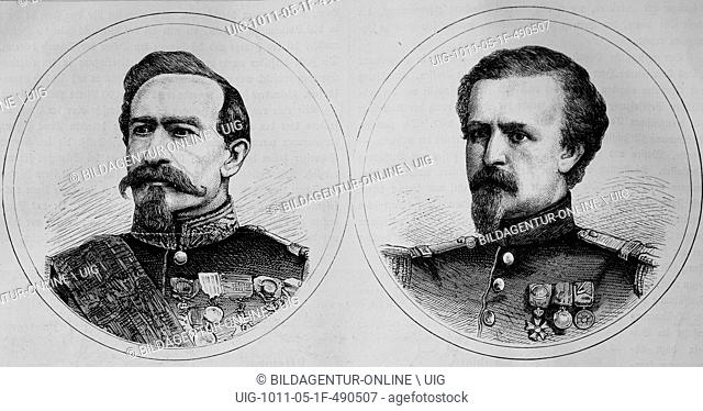 Charles denis bourbaki 1816-1897, french general, (left) and pierre marie philippe aristide denfert-rochereau 1823-1878, french colonel, illustrated war history