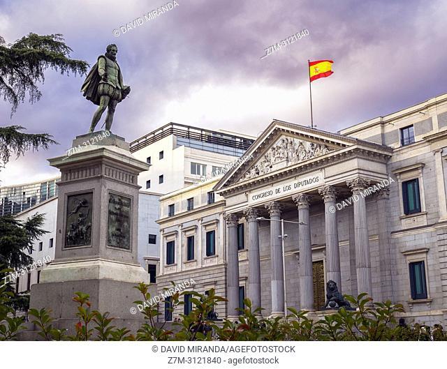 Estatua de Cervantes. Congreso de los Diputados. Madrid, Spain