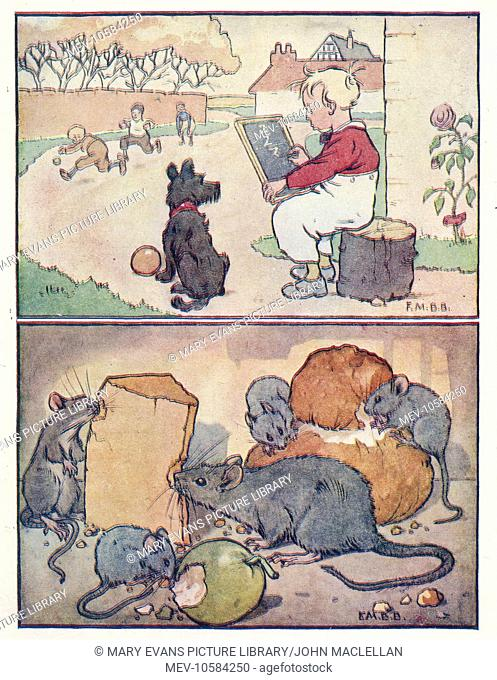 Nursery Rhymes -- two illustrations. Above -- a boy sits doing sums on a slate while other boys play football. Below -- mice eating bread, cheese and an apple