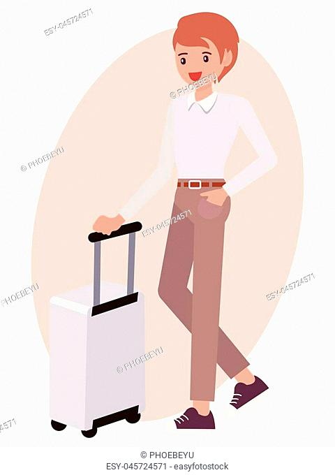 Cartoon character design male man stand beside luggage cheerfully
