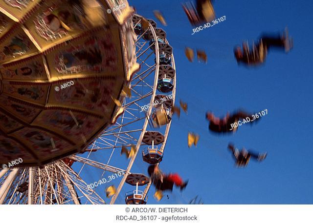 Merry-go-round at public festival Cannstatt Stuttgart Baden-Wurttemberg Germany