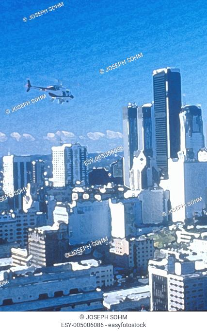 Photo impression of helicopter flying over downtown Los Angeles, California