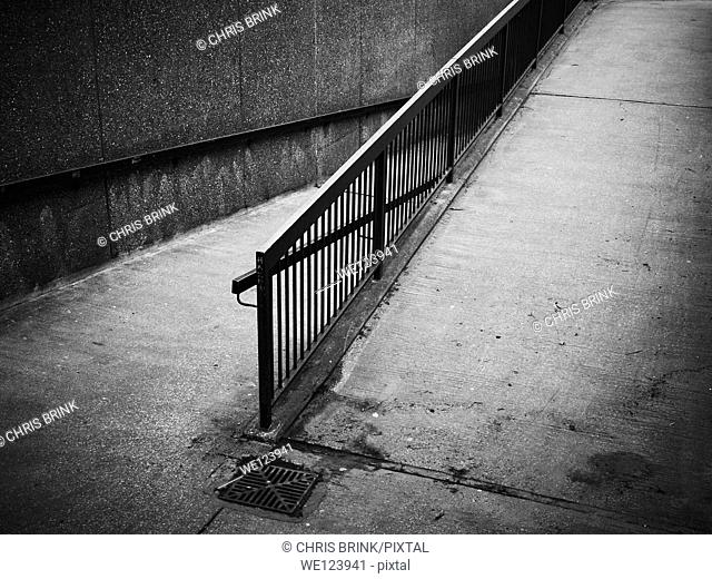 Black and white images of a ramp for disabled people in Chester, Cheshire, UK