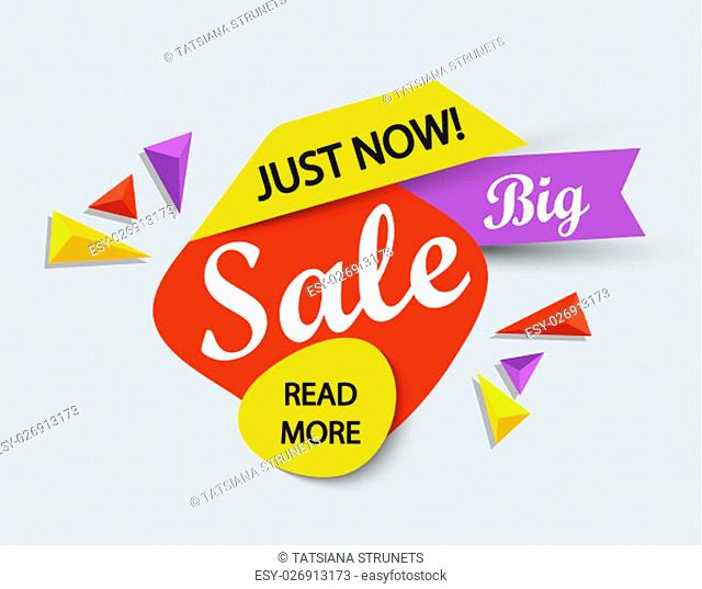 Just now sale banner. Sale and discounts. Vector illustration