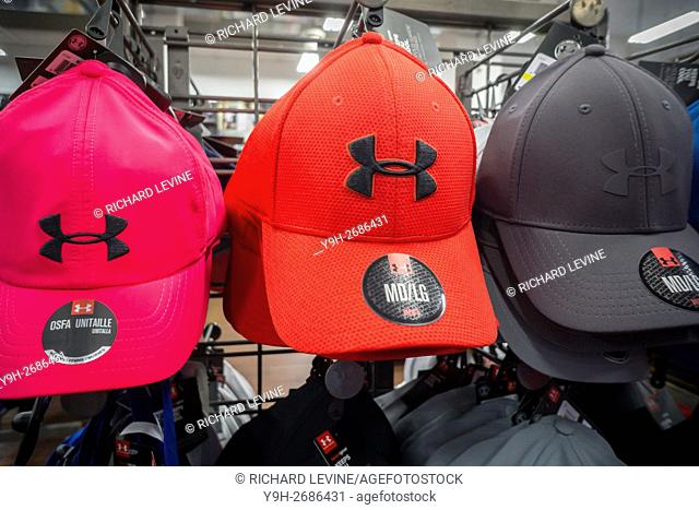 Under Armour merchandise in a sporting goods store in New York