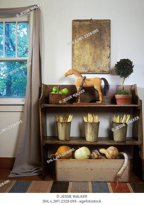 COLLECTION DISPLAY Country living room - Detail of shelf with natural yarn balls, antiques, Primitive, natural, texture, wooden horse, topiary, neutral colors