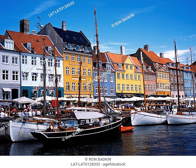 Nyhavn is a colourful waterfront,canal and popular entertainment district it is lined by brightly coloured 17th and early 18th century townhouses,bars