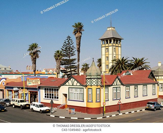 Namibia - The Woerman House with its Damara Tower was completed in 1905 and is one of the finest historic buildings in the seaside town of Swakopmund