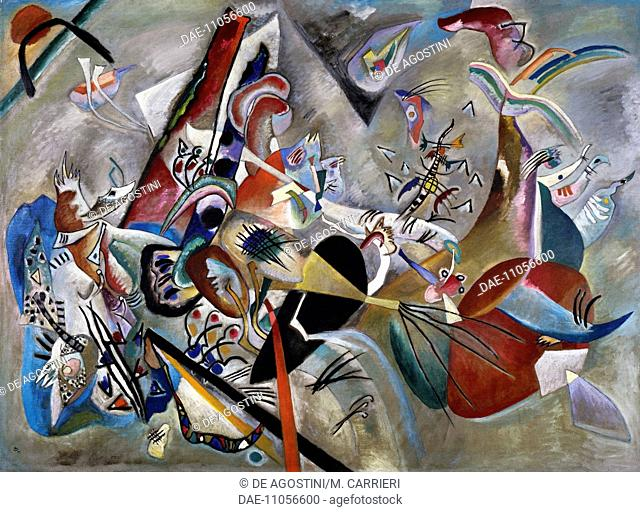 In grey, 1918, by Vassily Kandinsky (1866-1944), oil on canvas, 129x176 cm. Russia, 20th century.  Paris, Musée National D'Art Moderne (Centre Georges...